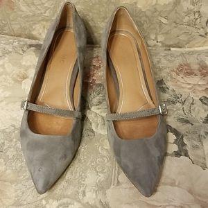 Vionic grey suede Mary Jane heels